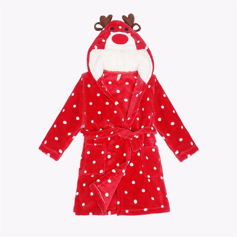 Cartoon Kids Robes Flannel Child Boys Girls Ro?bes Lovely Animal Hooded Pajamas Long Sleeve Baby Bathrobe Child Clothing Unisex