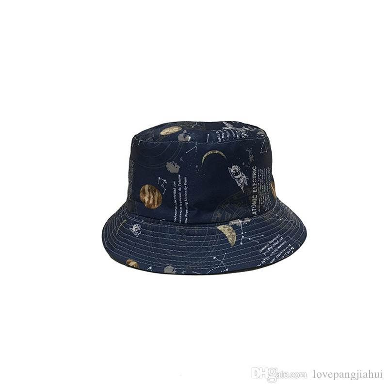 2019 New Fashion Women Summer Bucket Sunhat Starry Sky Printing Basin Canvas Topee Hats Sun Protection Beanie Caps Folding Man Bowler Cap