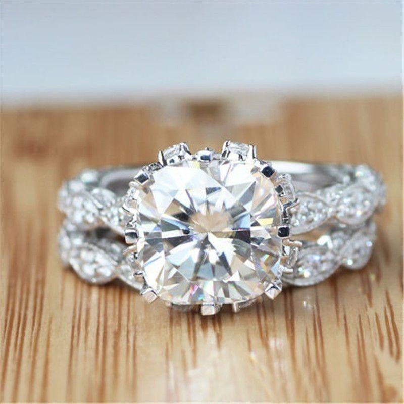 En gros - Jeu de bandes de mariage de fiançailles vintage pour femmes 3CT diamant simulé diamant CZ 925 sterling féminin