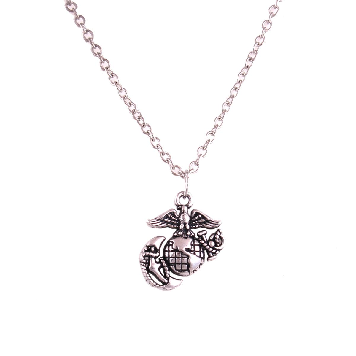 Vintage Eagle Globe And Anchor Pendant Marine Corps Link Chain Necklace for Men and Women