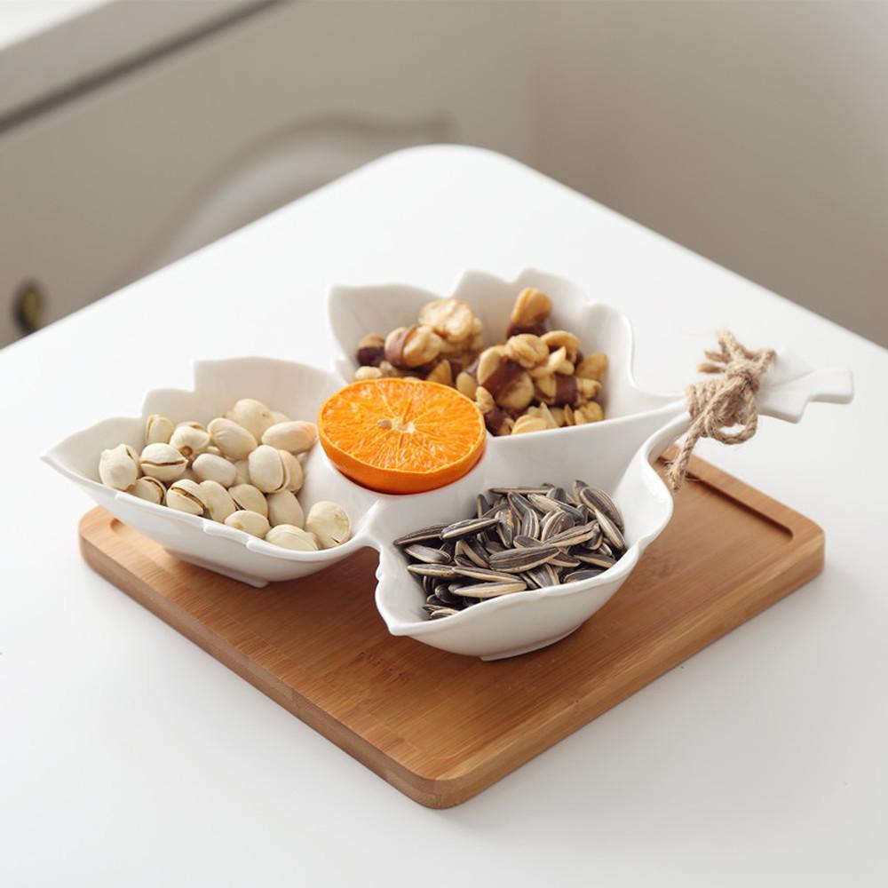 أبيض السيراميك طبق فاكهة شكل ورقة القيقب الرئيسية مقهى بار KTV وجبة خفيفة لوحة الفواكه المجففة علبة تخزين صحن