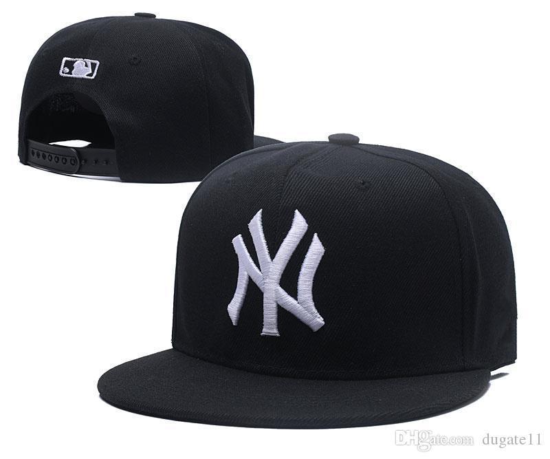2018 más reciente de Nueva York sol de la letra del bordado ajustable de los sombreros de Hip Hop Danza Snapback sombrero al aire libre Verano Hombres Mujeres Blanco Negro Azul marino visera