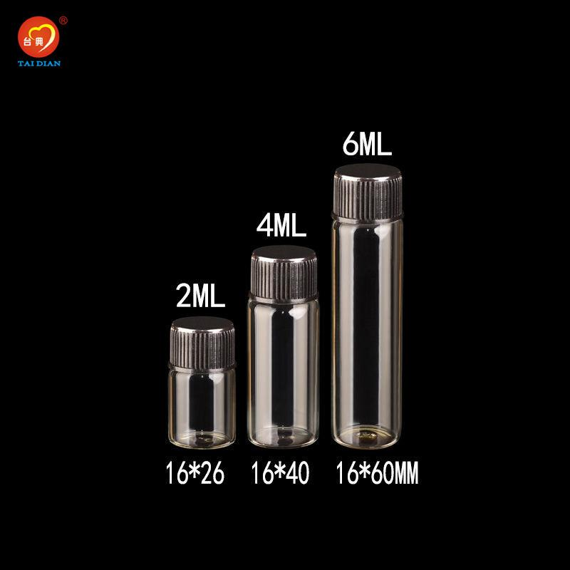 2ml 4 mi 6ml Plastik Vida Siyah Cap Şeffaf Cam şişeler Plastik Şişeler Kavanozlar Depolama Şişeler 100pcs ile Mini Cam Şişeler