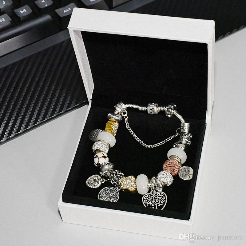 Encanto de la pulsera con cuentas pendientes para la joyería de Pandora con la caja original de alta calidad damas colgante del árbol de la vida elegante brazalete de diamantes de la CZ