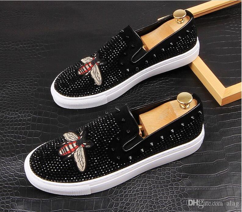 Männer Glitzer-Schuhe Mens Fashion Strass beiläufige Ebene Männer Entwerferkleidschuhe Sequined Loafers Herren Plattform Driving Schuhe BMM1217