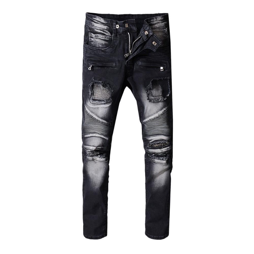Calças de brim dos homens calças calças Buraco Rasgado Resistente Moda denim Novo 2019 promoção fit splice rebite de Metal gradiente de branco Preto