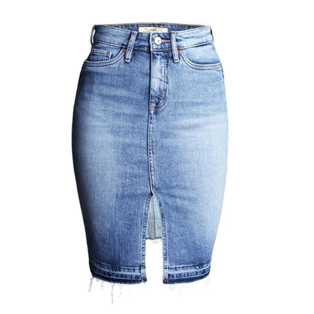 Plus Size Denim Skirts Women Summer Casual High Waist Slim Fit Business Bodycon Pencil Split Knee Length Jeans Skirt