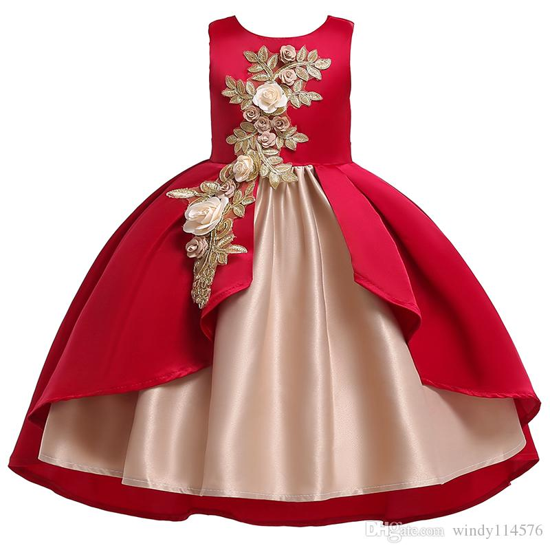 Flower Girl Dress For Wedding Baby Girl 2-12 Years Birthday Outfits Children Girls Dresses Kids Party Prom Ball Gown XF11