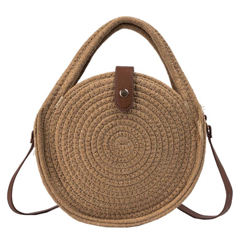 ASDS-Handmade Rattan Women Round Lady'S Handbag Straw Knit Summer Beach Bag Woman Shoulder Messenger Bag Caramel Colour