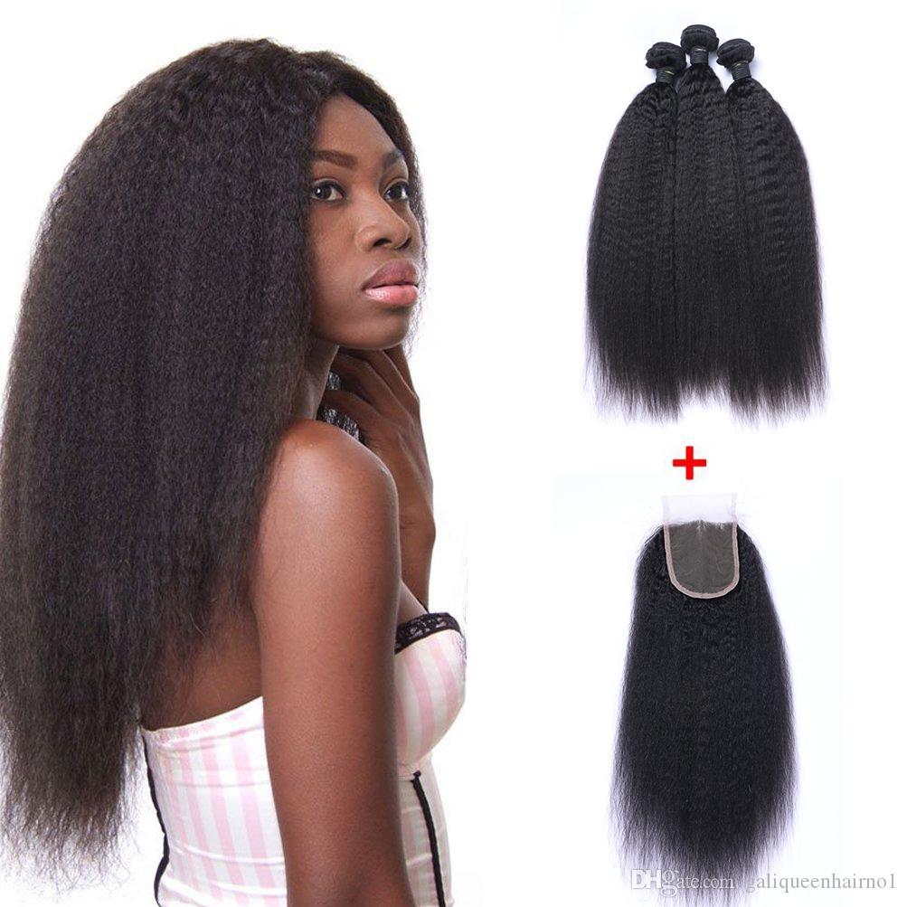 البرازيلي غريب مستقيم الإنسان عذراء الشعر النسيج مع 4x4 الدانتيل إغلاق ابيض عقدة اللون الأسود الطبيعي اللفت الشعر ملحقات الشعر