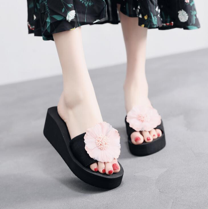 Moda Velvet Bow Um deslizamento deslizamento antiderrapante Grosso inferior Seaside Holiday Beach Shoes mer Designer-
