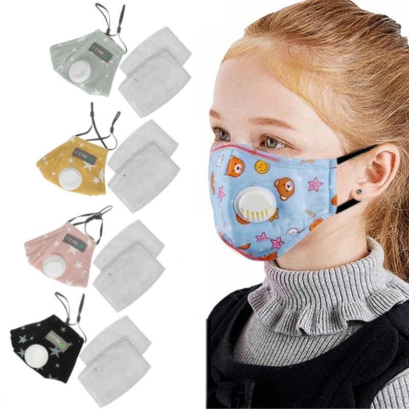 Maschera bambini affrontano con la respirazione valvola PM2.5 filtro riutilizzabile bocca a prova di polvere maschera di cotone lavabile Parasole mascherina mascherine Visiera riutilizzabili