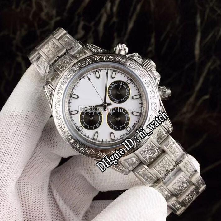 Nueva A2813 automática del reloj para hombre del tatuaje tallada caja de acero con esfera blanca de acero inoxidable Negro Subdial relojes pulsera 39b2 116500 hi_watch