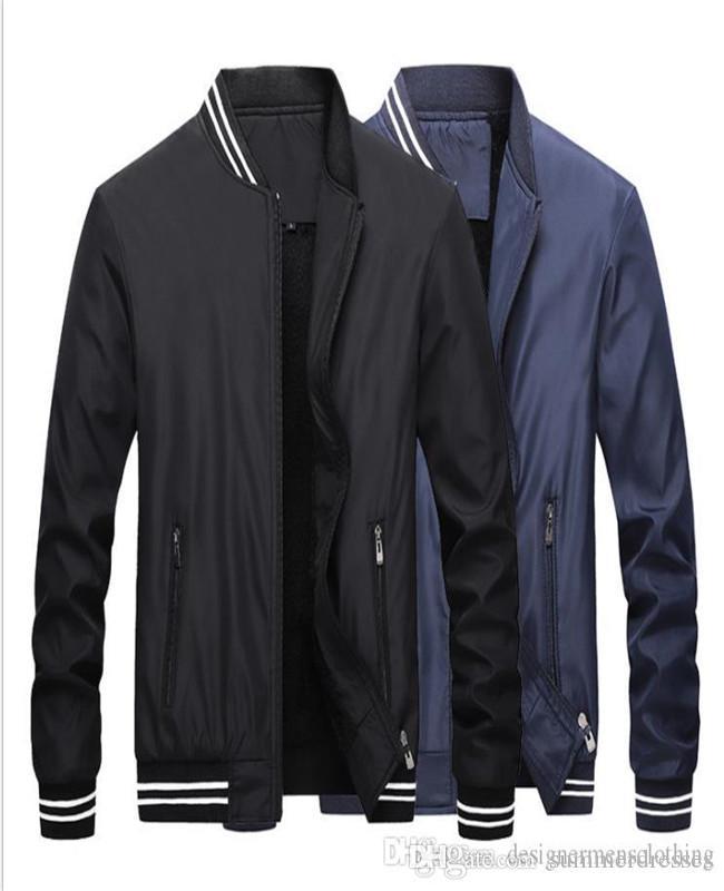Erkek Kış Yün Liner Ceketler Katı Kasetli Fermuar Fly Coats Standı Yaka Uzun kollu Ceket Erkek Giyim