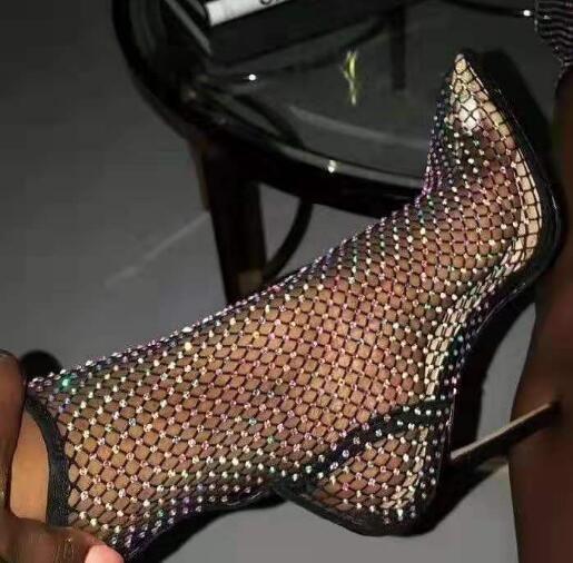 Estate Bling Bling strass maglia della punta indicata Stivaletti stiletto tacchi alti femminile cristallo Bottines Scarpe sandali Stivali
