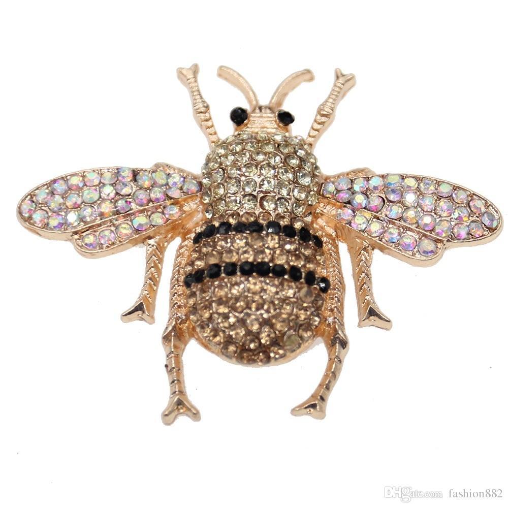 50mm Moda Takı Altın Sesi Flatback Arı Broş Hayvan Böcek Bumbee Rhinestone Broş Kristal Emaye Pin Broş Kadınlar için