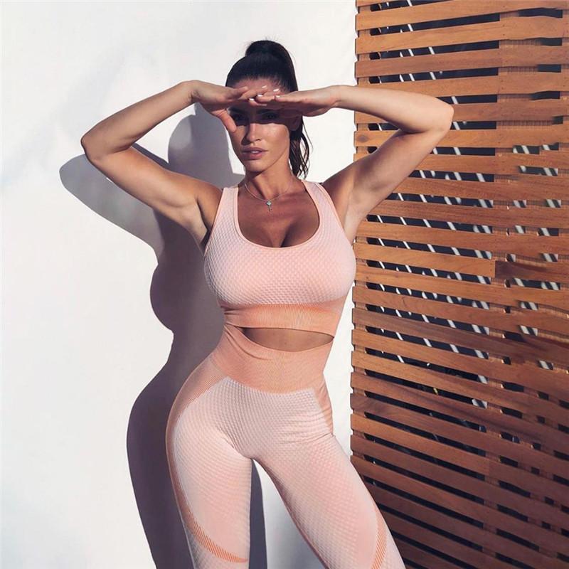 Mulheres da aptidão Two Pieces Set sport wear Backless Top Curto Bra + Elastic cintura alta Leggings Skinny Magro Treino Outfit fz0420