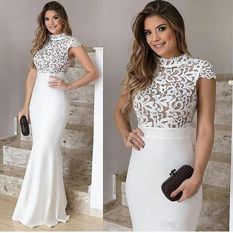 2020 New Style White Evening Gown Elegant High Neck Capped Sleeves Nude Underneath Bodice Fitted Women Dresses Evening Wear