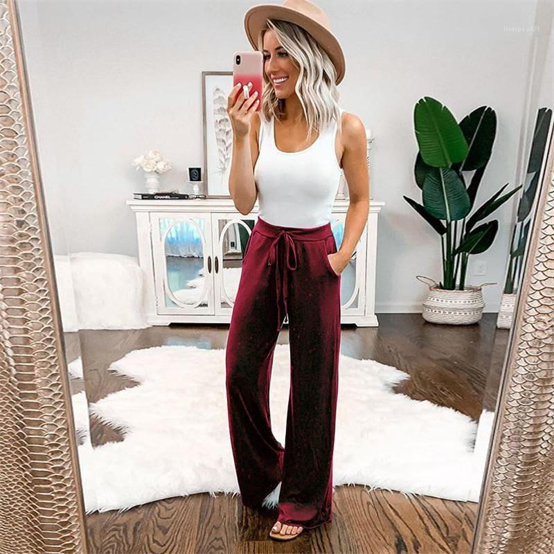 Цвет брюки повседневные женские спортивные обшитые панелями свободные брюки модельер Высокая Талия Женская одежда с завязками летние женщины чистый
