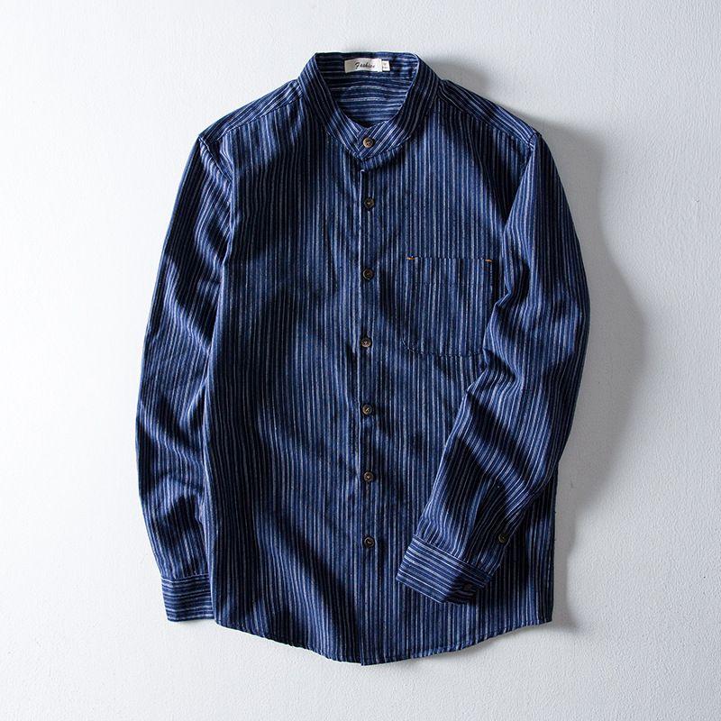 Camicia a righe in lino Cinese Mandarino collare abito di lino camicia nuovi uomini di modo Slim Fit Uomo Abbigliamento Top Classic Cotone
