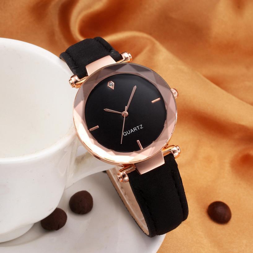2018 top marca mulheres pulseira de relógio de cristal de couro contratado relógios de pulso das mulheres dress senhoras relógio de quartzo dropshiping # d t190619