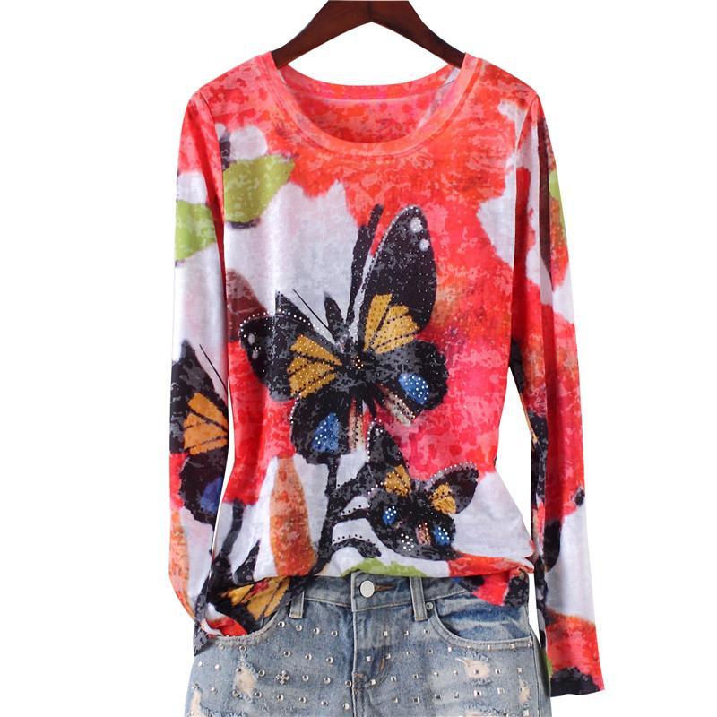 Moda de perforación en caliente de la mariposa doble impresión delgada camiseta de las mujeres 2017 nueva llegada o-cuello de manga larga más el tamaño m-4xl y19072701