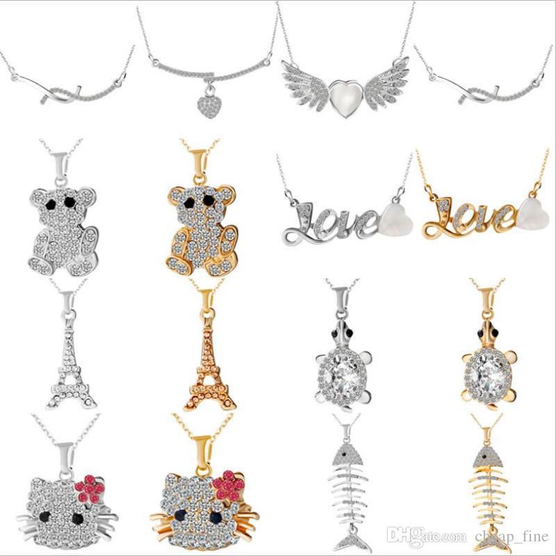 Cheap Wholesale Rhinestone Charm Necklace Fish Turtles Paris Tower Pendant Romantic Gold silver Necklaces for Ladies Classic Party