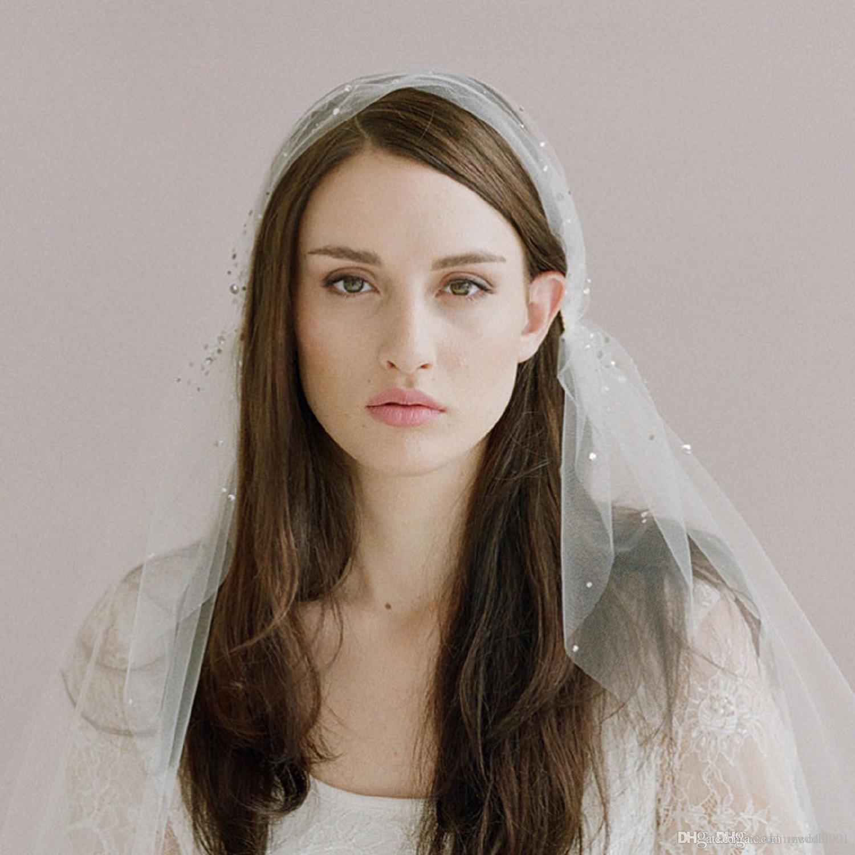 2019 الجديدة الزفاف الوجه الحجاب زفاف مطرز الحجاب كريستال مع زينة مشط الزفاف الأبيض حزب الحجاب