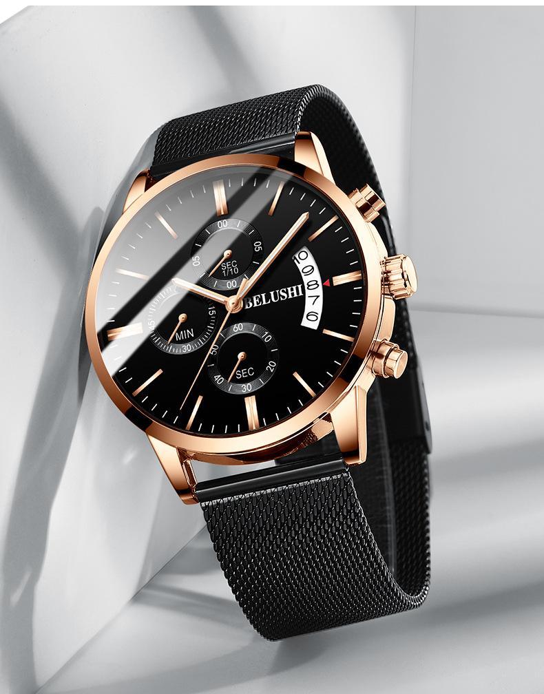 방수 손목 시계 빛난 패션 남성의 다기능 쿼츠 시계와 형광 손 타이머 새로운 스포츠 시계 세 아이의 6 핀