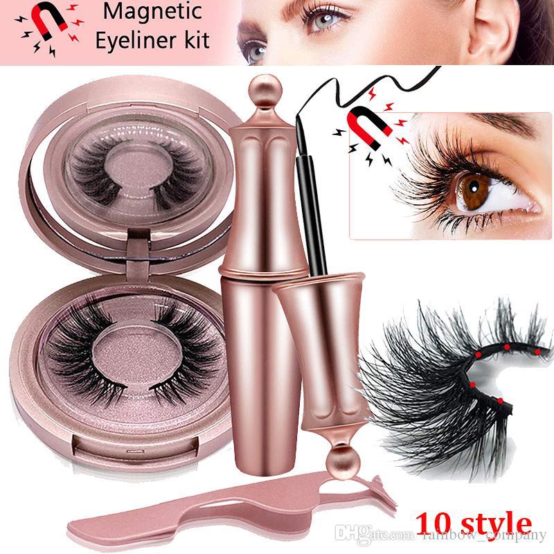 3D Mink Pestañas magnética de ojos líquido con pinzas Set Imanes falso pestañas naturales Extensión Kit de maquillaje duradero a prueba de agua