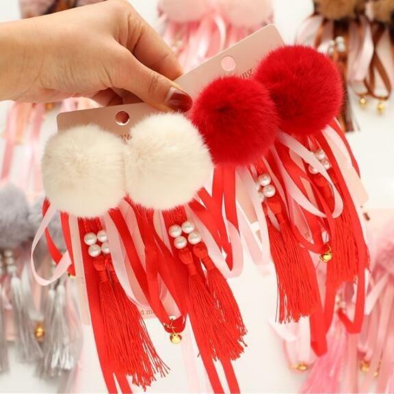 Children Girls Cute Hairpins Set Chinese Style Red Hair Clips Kids Bobby Pins Barrettes Bangs Clips Headwear Fashion Hair Jewelry Headdress