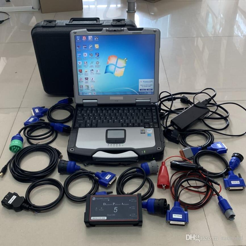 Strumento Diagnostico Diagnostico Diesel Set completo DPA5 Dearborn Protocol Adapter 5 con computer portatile CF-30 Toccare computer