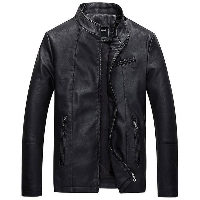 Nuevas chaquetas de cuero causales para hombre, manga larga, bolsillo grueso de invierno para hombre, ropa de abrigo de bombardero PU fresca, venta caliente, cremallera, ropa de marca