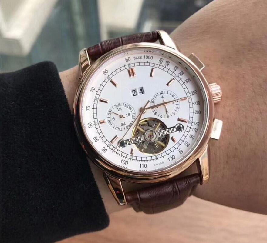 Hueca Tourbillon relojes de lujo reloj de los hombres de la correa completamente diseñador mecánico automático de cuero de moda para hombre de negocios Relojes