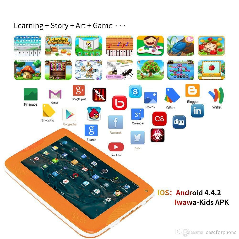"7"" Tablet PC 512MB 4G 512MB + 8G A33 Quad Core Android Tablet Wireless Dual Camera Children Education Games BabyPAD Birthday Gift"