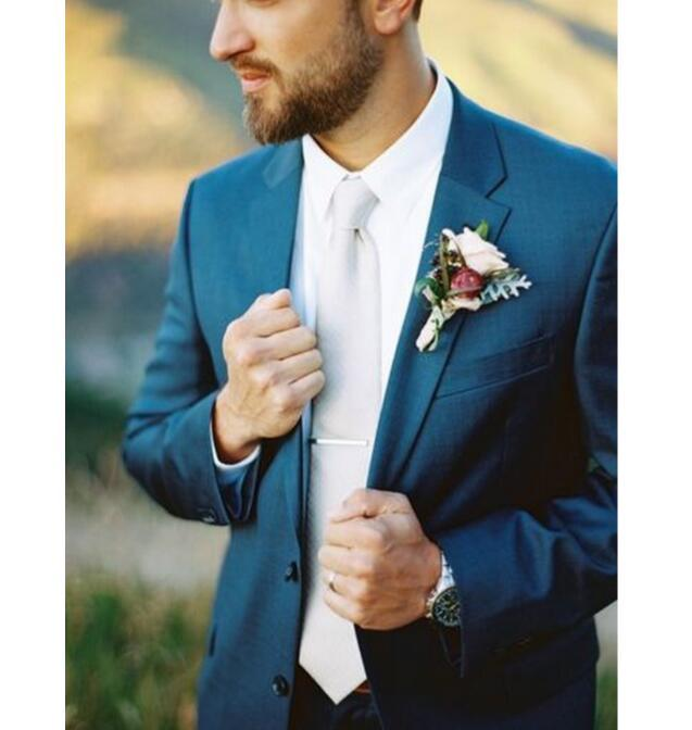 Nuovi Motivi smoking blu abiti da uomo 2 Pezzo (Jacket + Pants + Tie) Personalizza Realizzato vendita calda Groomsman Festa di nozze uomo migliore