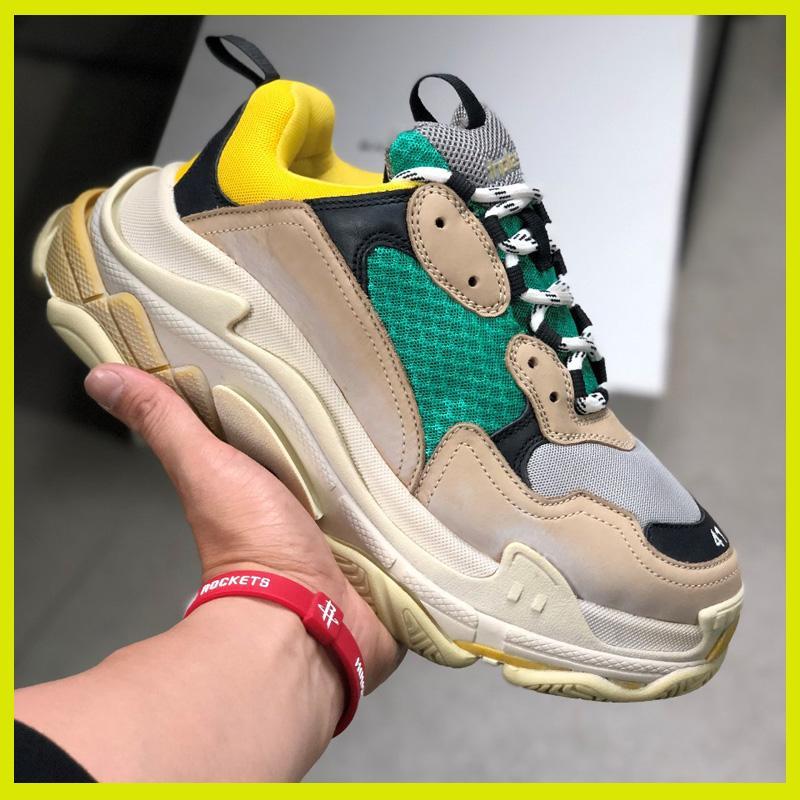 Diseñador de zapatillas de deporte de las mujeres de los hombres del papá zapatos parís Crystal Triple S 17FW de lujo baratos vendimia viejo abuelo Trainer venta en línea