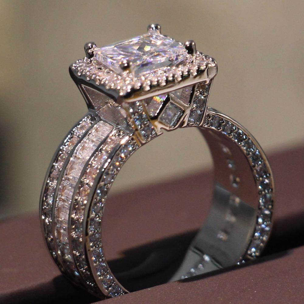جديد وصول فريد فاخر مجوهرات 925 فضة الأميرة 5a زركون ساحة تشيكوسلوفاكيا وعد الزفاف الفرقة الدائري للنساء