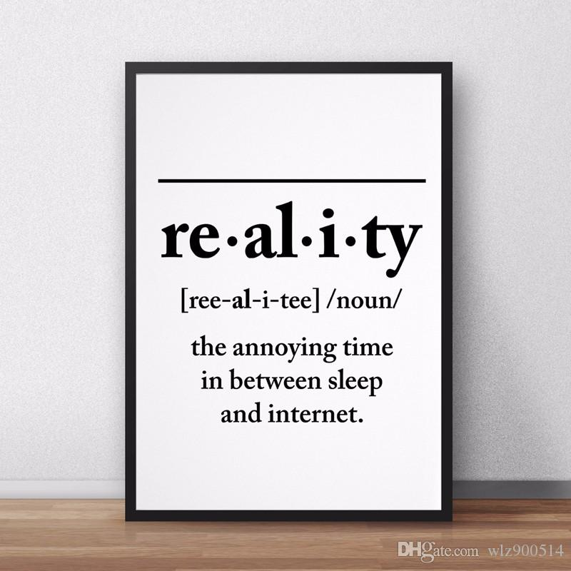 Reality Definition Canvas Painting Wall Art Posters and Prints Pictures Funny Printable Home Decor No Frame