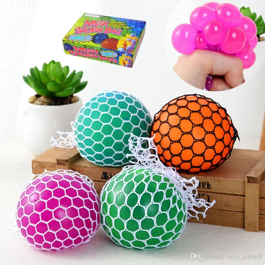 6cm Anti Stress Mesh Face Reliever Grape Ball Autism Mood Squeeze Relief Healthy Toy Funny Gadget Vent Decompression toys Gifts