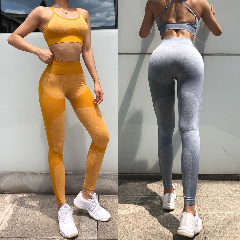 Designer Womens Yoga Set Fitness Tech Tech Wear Roupas Sportswear Mulher Gym Leggings Pullded Pushpy Strappy Sports Suits Sutiã Long Calças Sexy Tech Tech Top Tracksuit