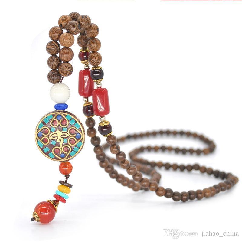롱 부처님 목걸이, 손으로 만든 양면 천연 나무 구슬 펜던트, 국가 스타일의 보석을, 스웨터 체인 목걸이를 구슬