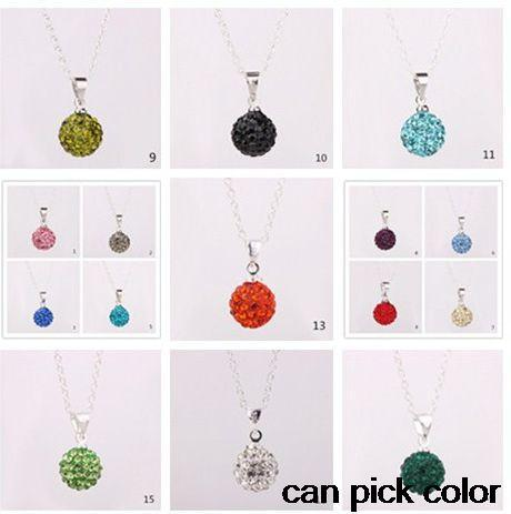 hft34ng mixed Fashion Micro Pave CZ clay women gift Pendant Silver Plated Chain crystal Necklace