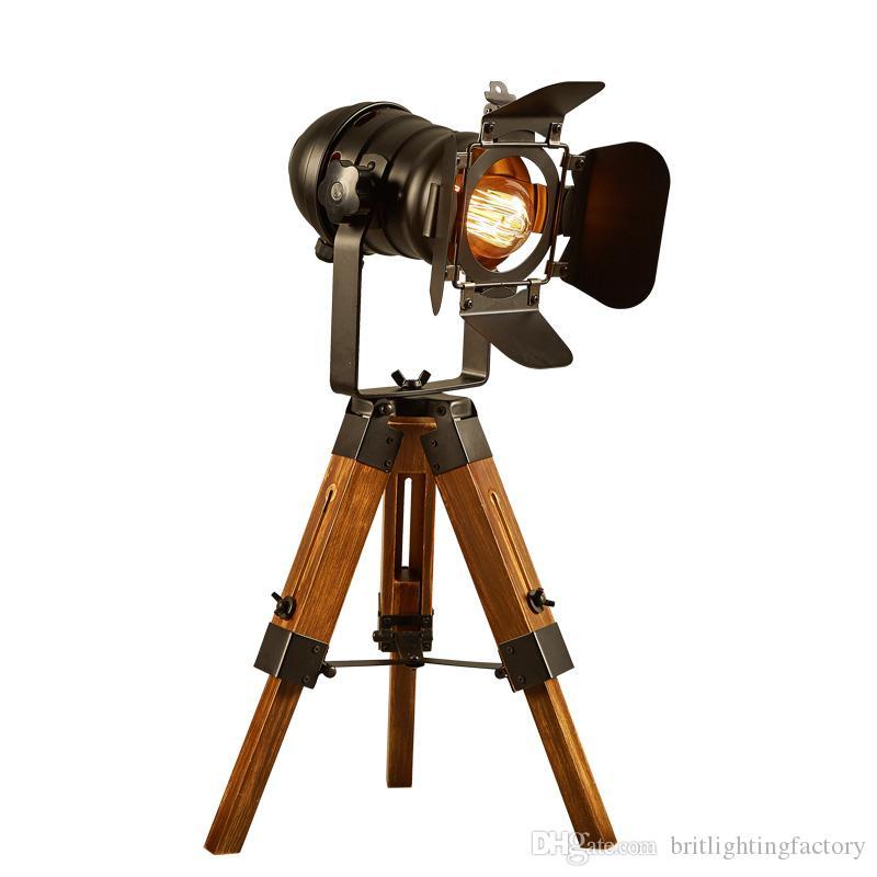 Vintage Loft industriale Ferro Retro Camera Lampade Camera da letto Treppiede Tavolo Lampada da tavolo Liftable Light Cafe Studying Room lampada da tavolo Lavoro luci a led