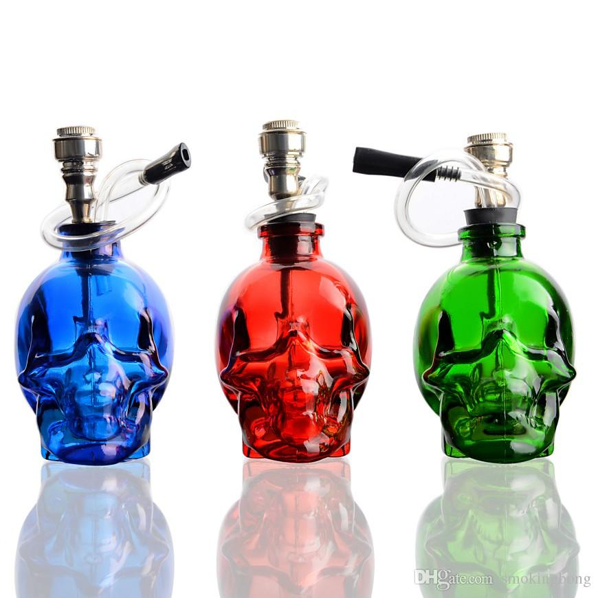 Hookah Water Pipe Glass 8 inch Tobacco Bong w//Flowers Red Fast Shipping