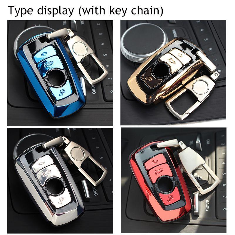 Abs السيارات سيارة مفتاح شل حالة تغطية حامل مع كيرينغ مفتاح حلقة سلسلة مشبك المفاتيح لسيارات bmw f07 f10 f11 f20 f25 f26 f30