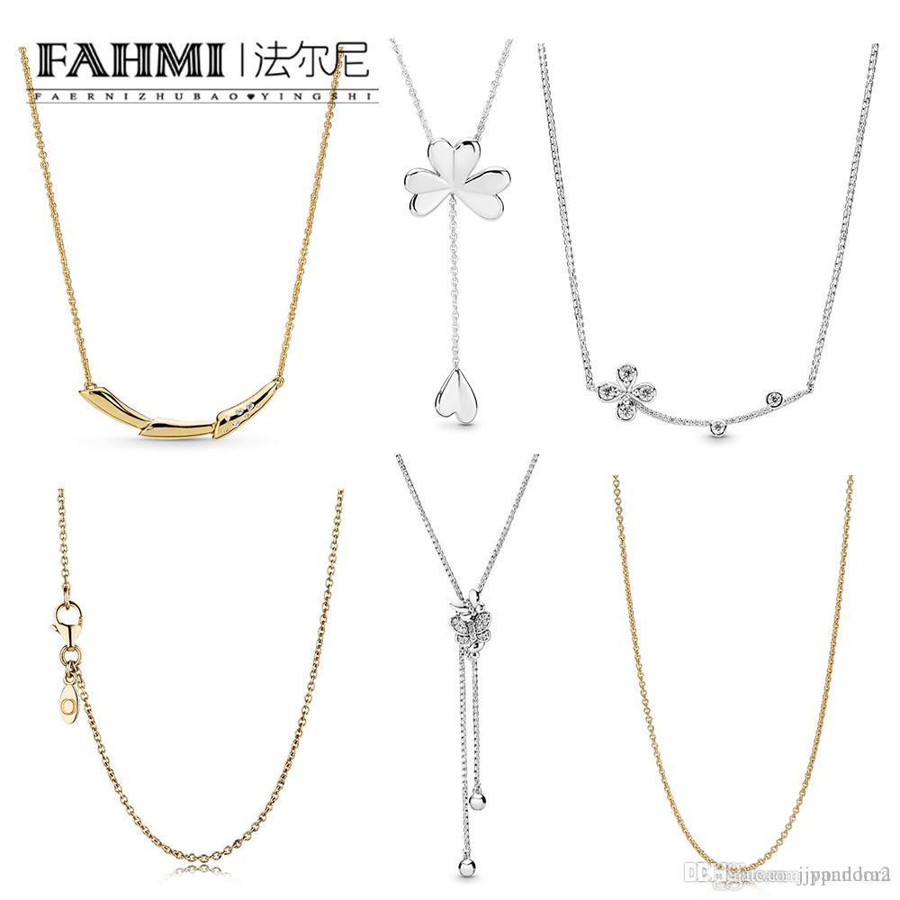 Pandora I00% 925 Sterling Silver Shine GOLD CHAIN Butterflie Collier ANCRE Trèfle à quatre feuilles Pétale Collier Fleur Collier Tige