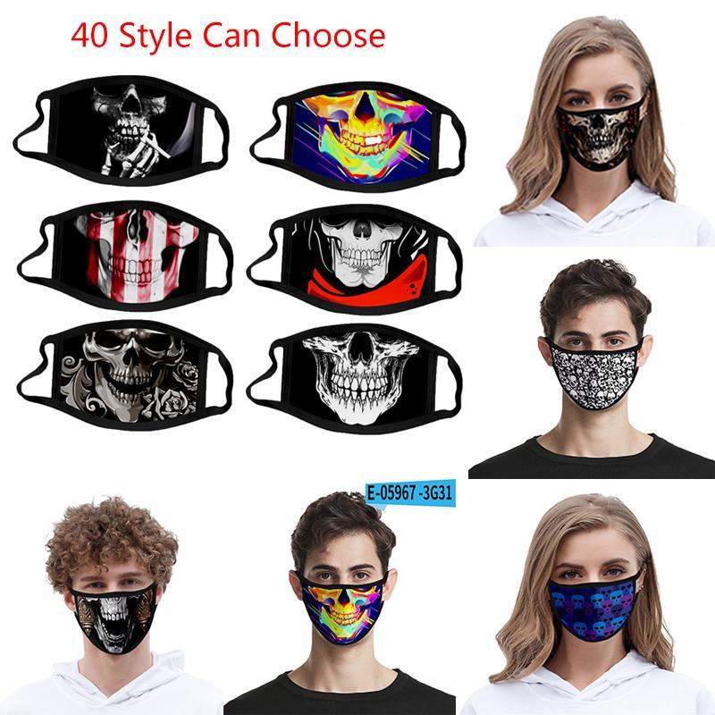 40 Style de crâne Masque personnalisé Masques imprimés 3D Mode antipoussière Imprimé Ice Tissu en soie lavable XD23444