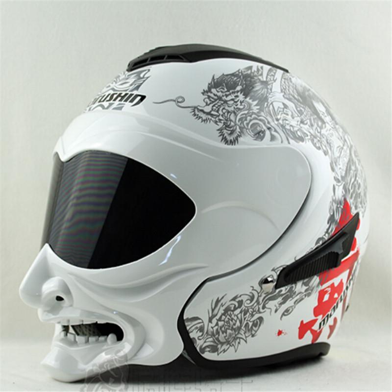 Genuine branco e preto gás capacete Marushin capacete da motocicleta samurai metade do rosto lente dupla marushinC609