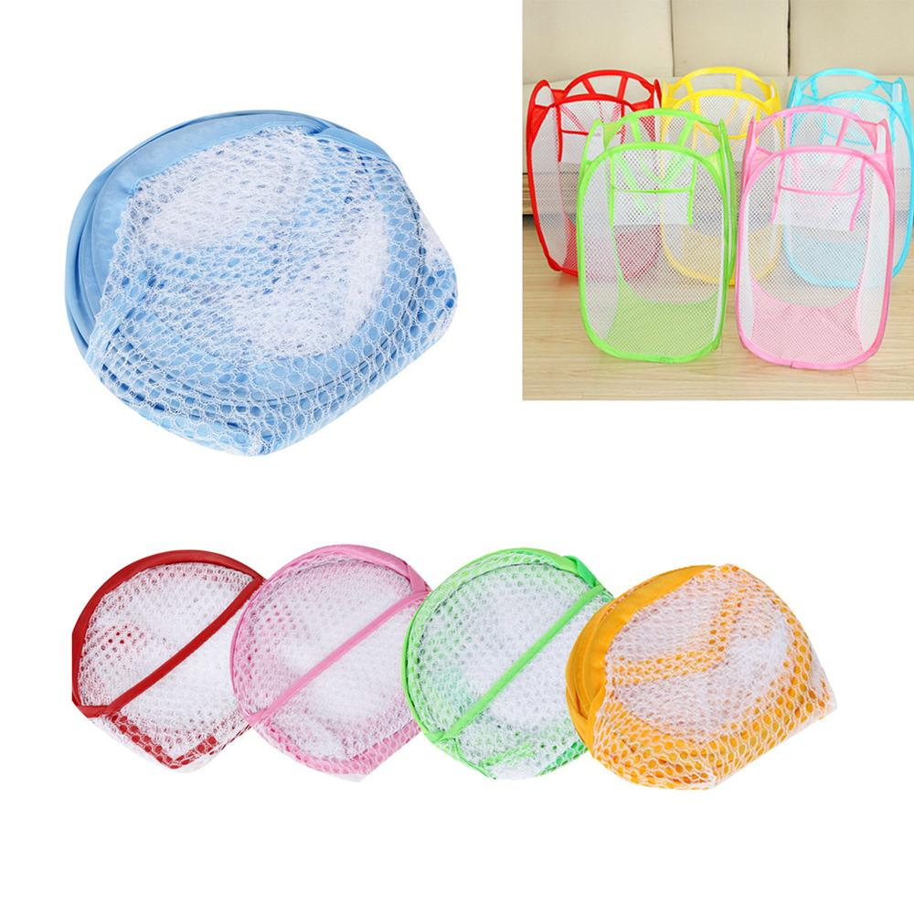 Laundry Basket Foldable Pop Up Washing Laundry Basket Bag Hamper Mesh Storage Bathroom Accessories Tools2.10